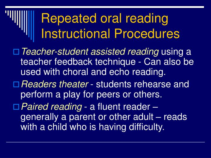 Repeated oral reading