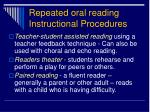 repeated oral reading instructional procedures