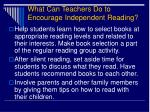 what can teachers do to encourage independent reading