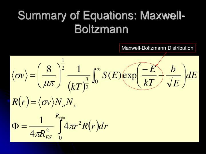 Summary of Equations: Maxwell-Boltzmann