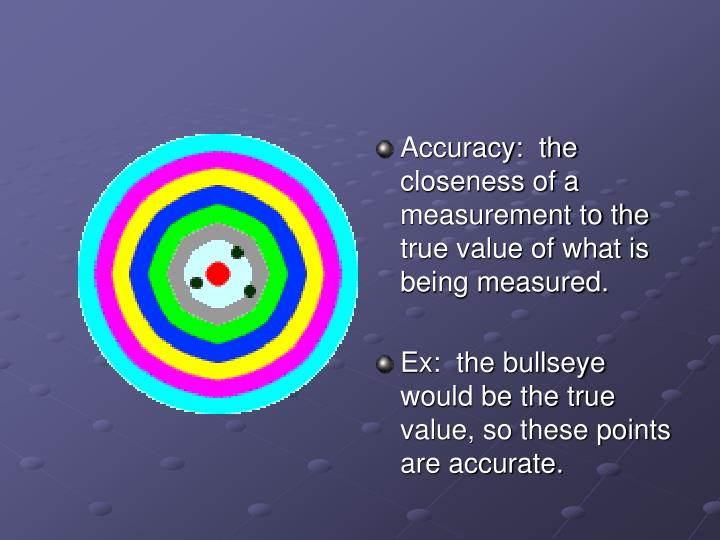 Accuracy:  the closeness of a measurement to the true value of what is being measured.