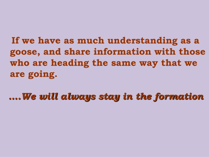 If we have as much understanding as a goose, and share information with those who are heading the same way that we are going.
