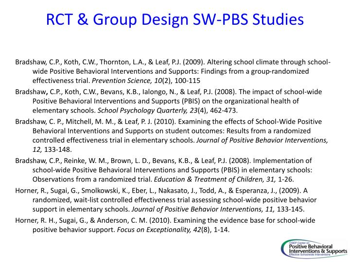 RCT & Group Design SW-PBS Studies
