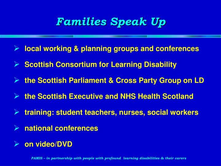 Families Speak Up