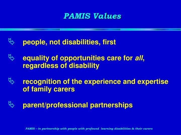 PAMIS Values