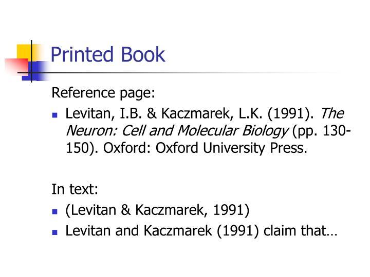 Printed Book