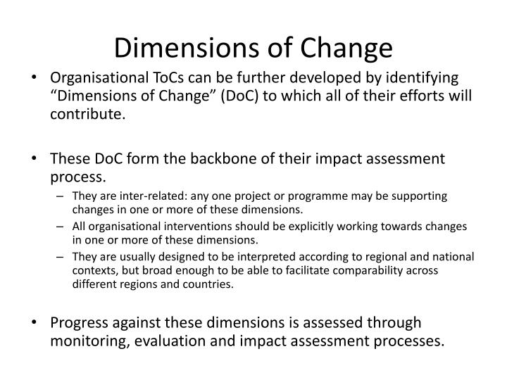 Dimensions of Change