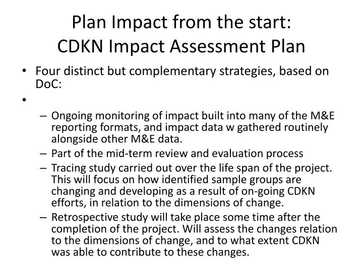 Plan Impact from the start: