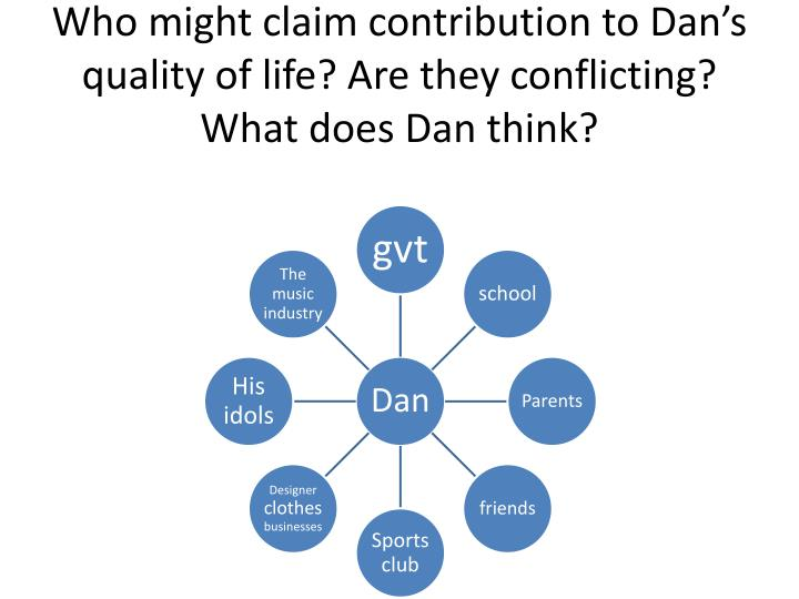 Who might claim contribution to Dan's quality of life? Are they conflicting? What does Dan think?