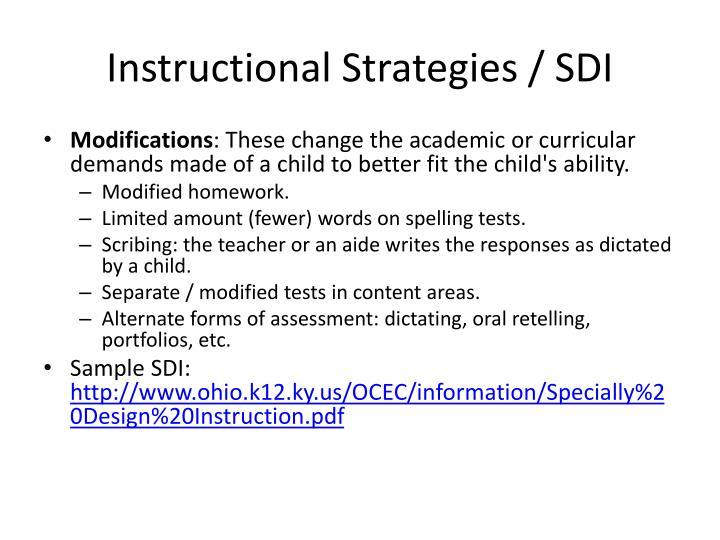 Instructional Strategies / SDI