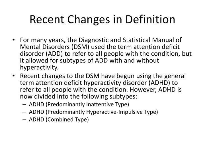 Recent Changes in Definition