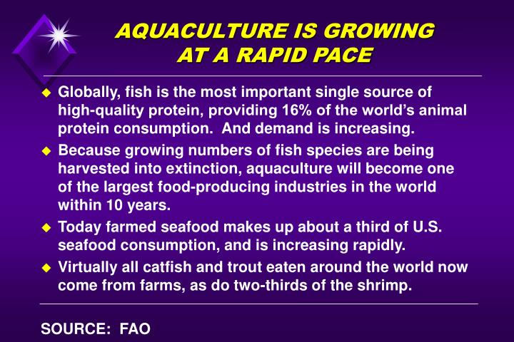 AQUACULTURE IS GROWING