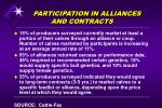 participation in alliances and contracts