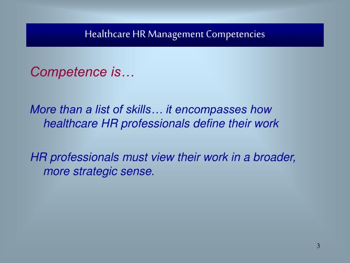 Healthcare hr management competencies