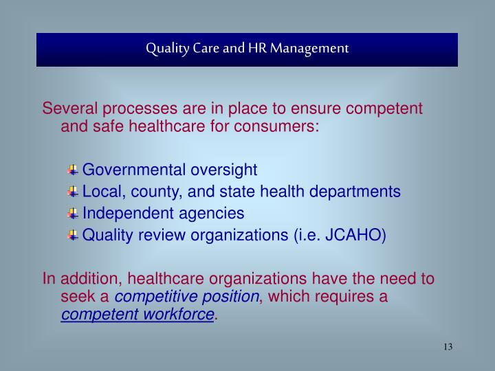 Quality Care and HR Management