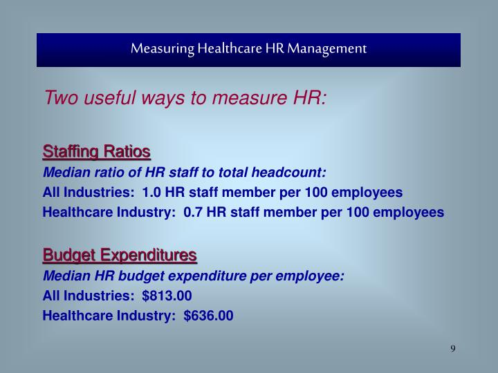 Measuring Healthcare HR Management