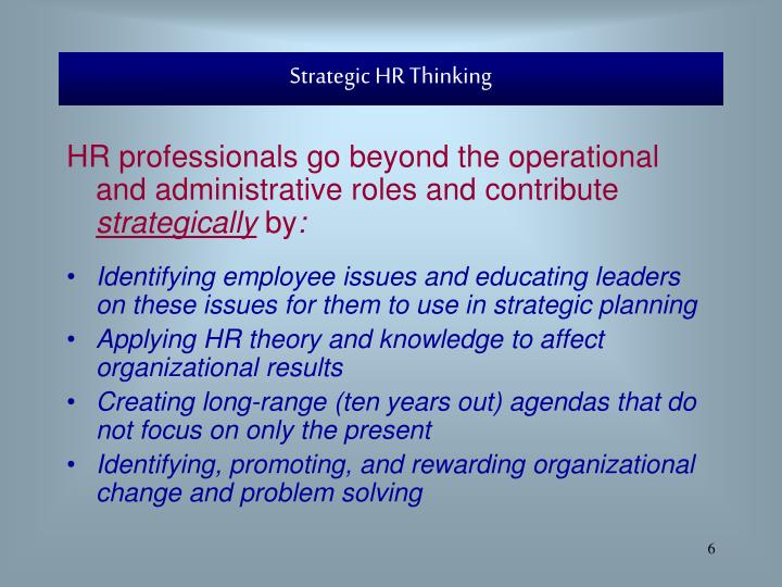 Strategic HR Thinking