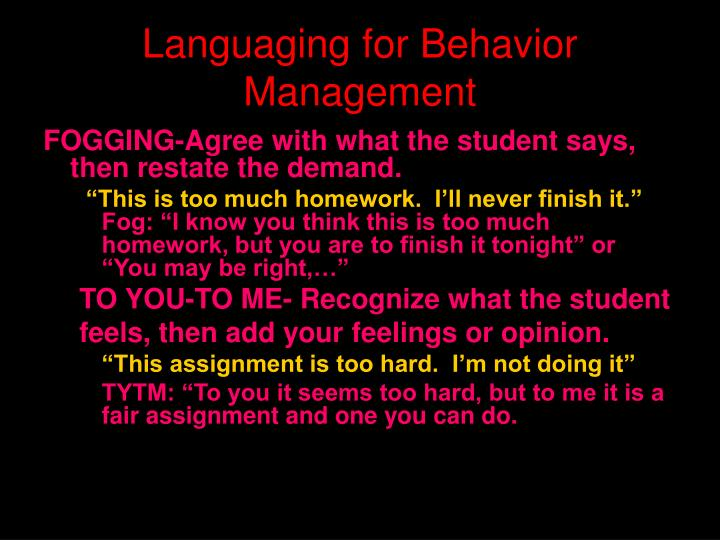Languaging for Behavior Management