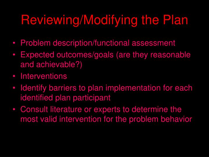 Reviewing/Modifying the Plan