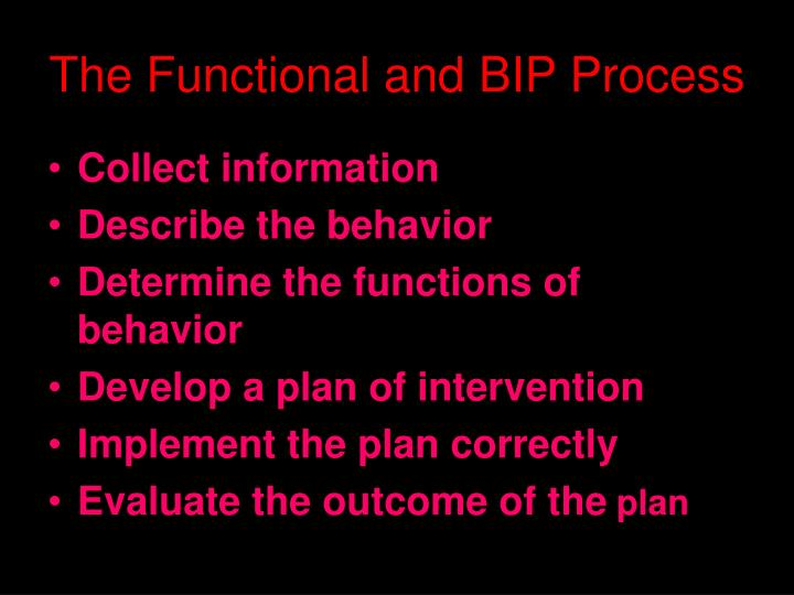 The Functional and BIP Process