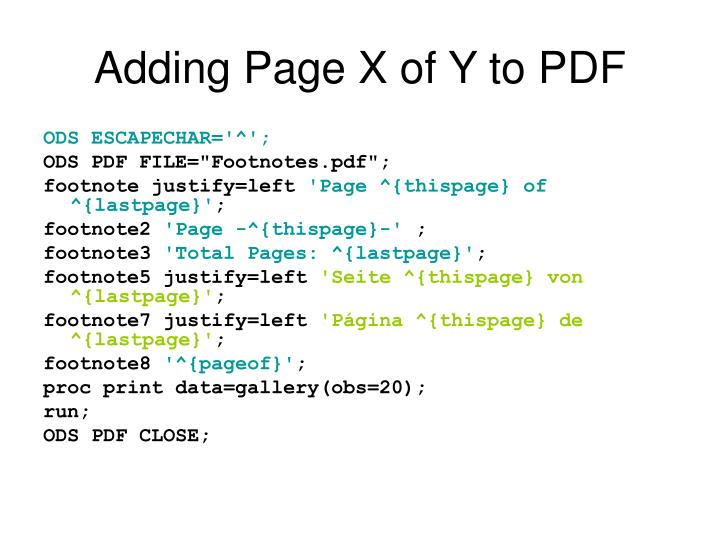 Adding Page X of Y to PDF