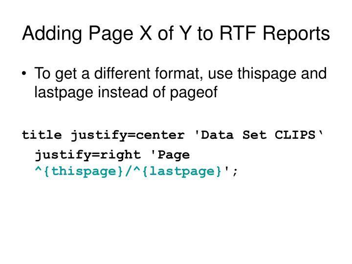 Adding Page X of Y to RTF Reports