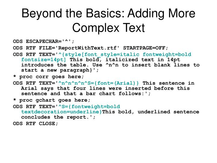 Beyond the Basics: Adding More Complex Text