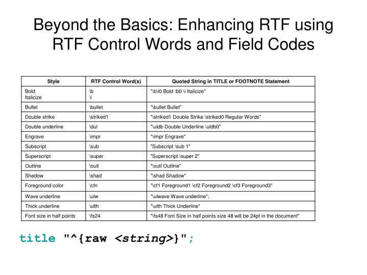 Beyond the Basics: Enhancing RTF using RTF Control Words and Field Codes