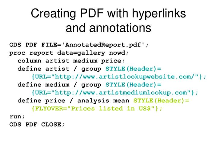 Creating PDF with hyperlinks