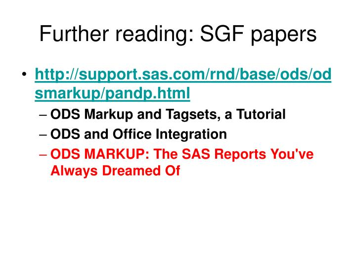 Further reading: SGF papers