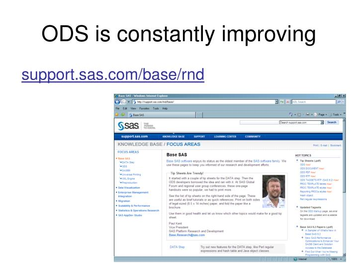 ODS is constantly improving