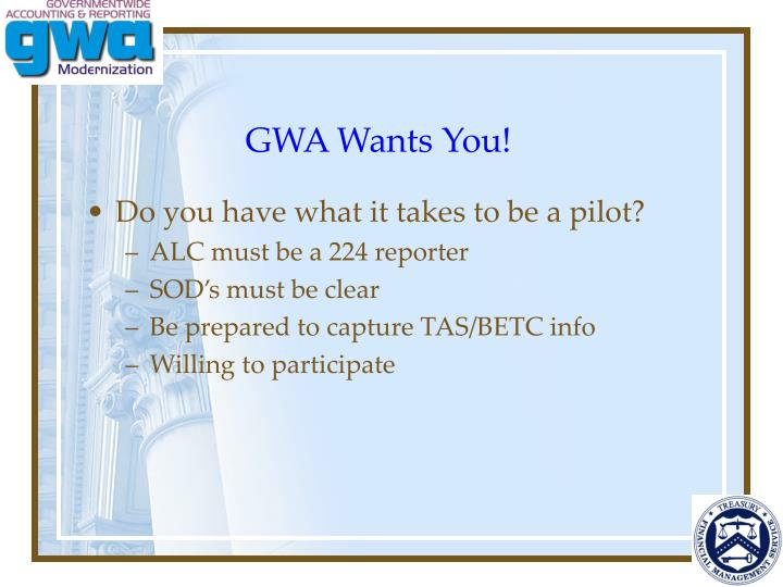 GWA Wants You!
