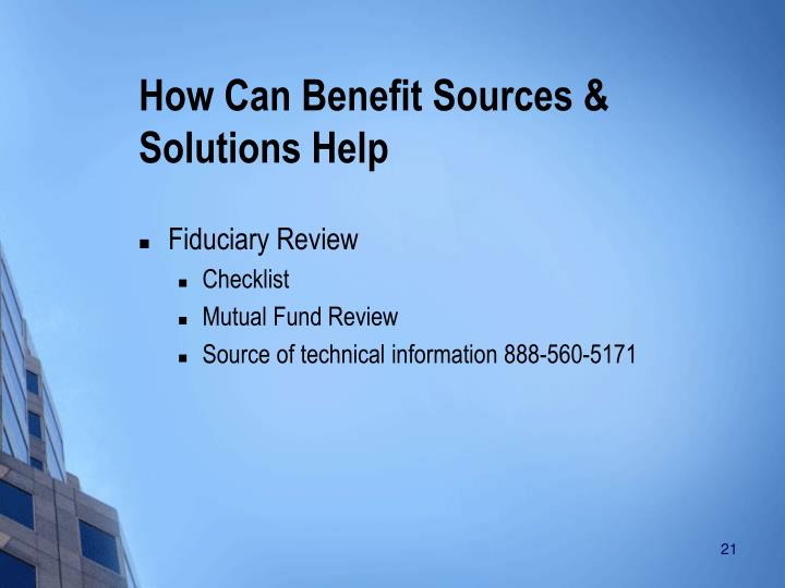 How Can Benefit Sources & Solutions Help