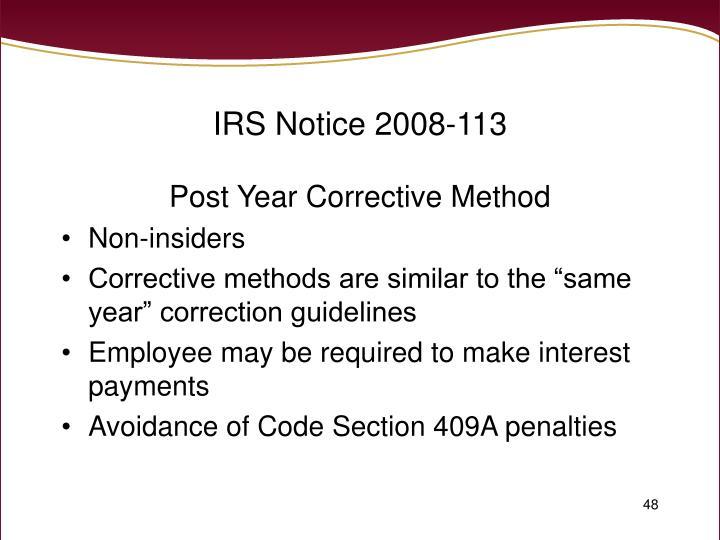 IRS Notice 2008-113