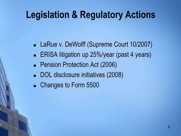 Legislation & Regulatory Actions