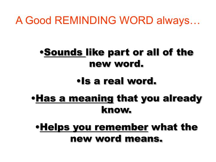 A Good REMINDING WORD always…