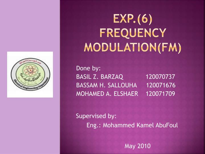 Exp 6 frequency modulation fm