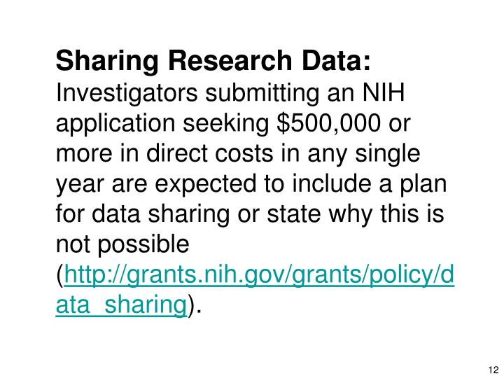 Sharing Research Data: