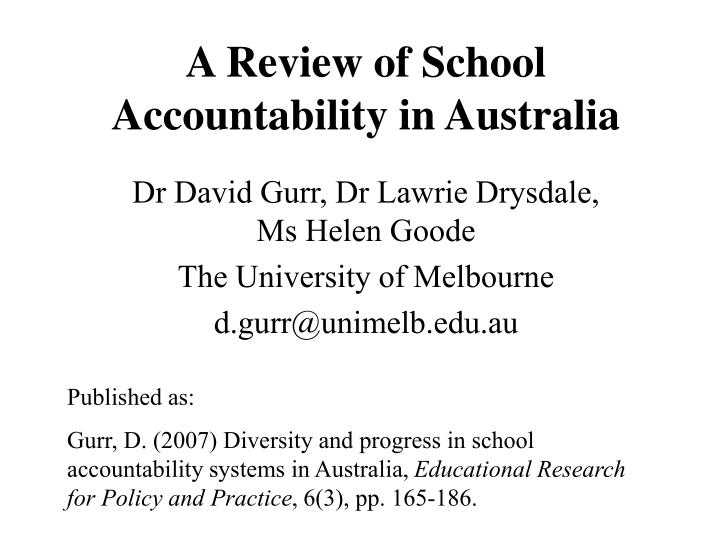 a review of school accountability in australia
