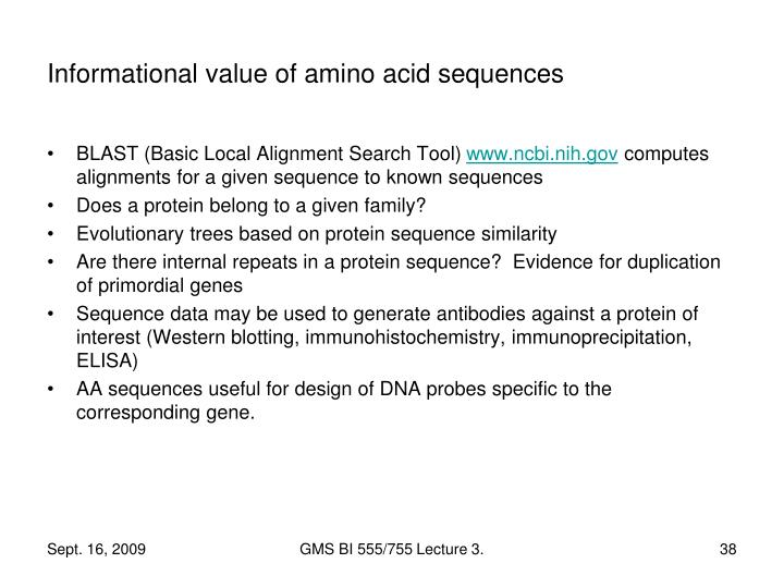 Informational value of amino acid sequences