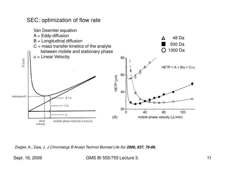 SEC: optimization of flow rate