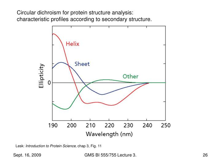 Circular dichroism for protein structure analysis: characteristic profiles according to secondary structure.