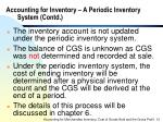 accounting for inventory a periodic inventory system contd
