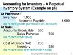 accounting for inventory a perpetual inventory system example on p6