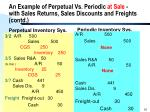 an example of perpetual vs periodic at sale with sales returns sales discounts and freights contd