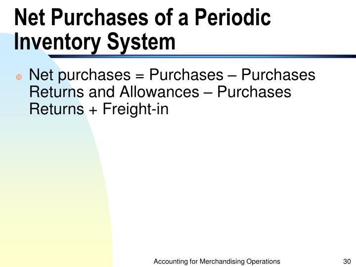 Net Purchases of a Periodic Inventory System