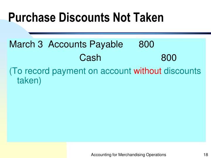 Purchase Discounts Not Taken