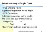 sale of inventory freight costs
