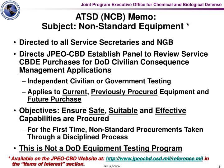ATSD (NCB) Memo: