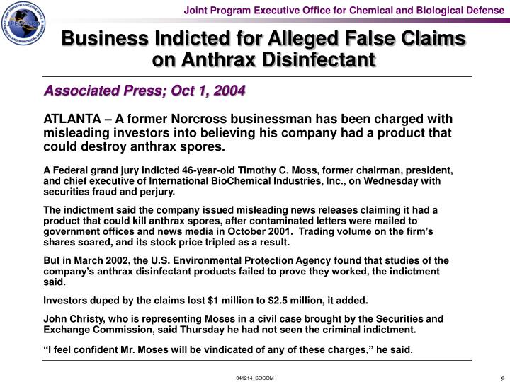 Business Indicted for Alleged False Claims